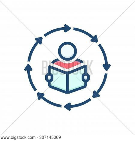 Color Illustration Icon For Methodologies Study Research Activity Creativity Inspiration Read Book
