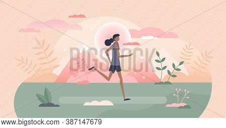 Running Workout Exercise As Outdoors Sport Activity Tiny Persons Concept. Run Sprint Or Marathon Dis