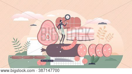 Meat Production With Animal Food Products And Butcher Tiny Person Concept. Kitchen With Pork Bacon A