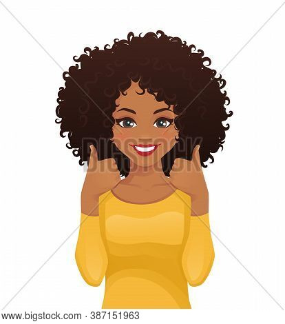 Portrait Of Smiling Beatiful Woman With Afro Hairstyle Showing Thumbs Up Isolated Vector Illustratio