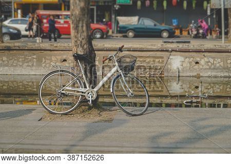 Blur Background Of The Old Bicycle That Was Leaning Against A Tree Beside A Canal Around The City Wa