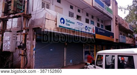 District Katni, India - August 01, 2019: Reliance Gas Dealer Building View On Road Side Sky Backgrou