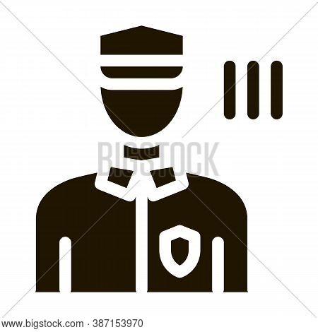 Policeman Control Security Glyph Icon Vector. Policeman Control Security Sign. Isolated Symbol Illus