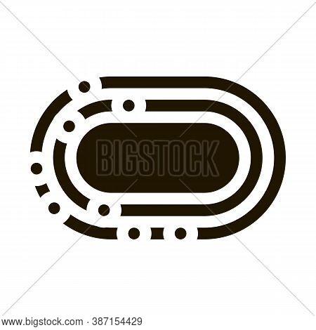 Marathon Stadium Top View Glyph Icon Vector. Marathon Stadium Top View Sign. Isolated Symbol Illustr