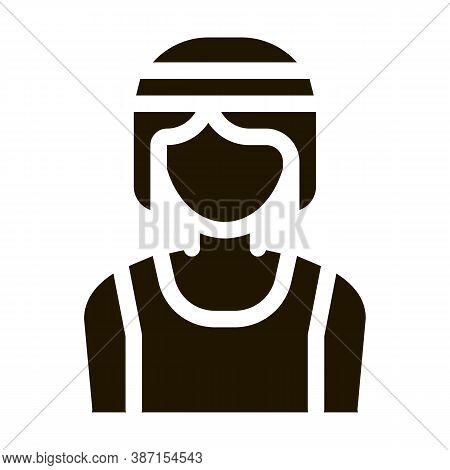Female Athlete Sportsman Glyph Icon Vector. Female Athlete Sportsman Sign. Isolated Symbol Illustrat