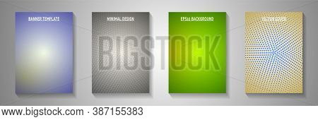 Elegant Dot Screen Tone Gradation Front Page Templates Vector Kit. Industrial Catalog Faded Screen T
