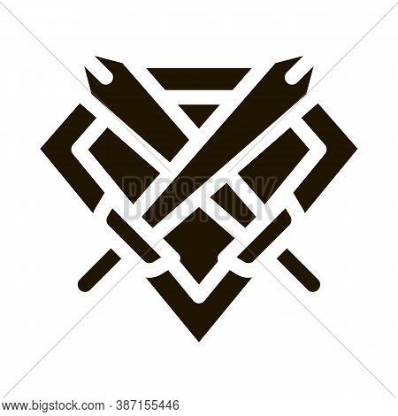Emblem Of Defender Glyph Icon Vector. Emblem Of Defender Sign. Isolated Symbol Illustration
