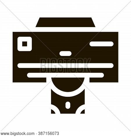 Money Issuing Printer Glyph Icon Vector. Money Issuing Printer Sign. Isolated Symbol Illustration