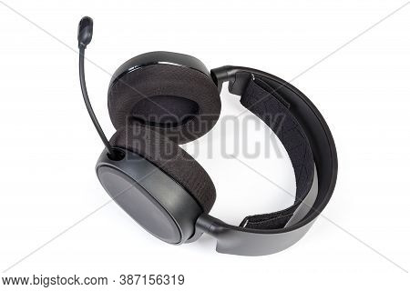 Black High-fidelity Headset With Full Size Headphones And Microphone On A White Background