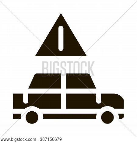 Car Danger Obstruction Glyph Icon Vector. Car Danger Obstruction Sign. Isolated Symbol Illustration