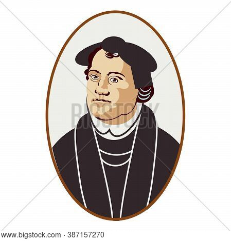 A Martin Luther Portrait In A Historical Costume In Oval Frame Isolated On White Background. Illustr