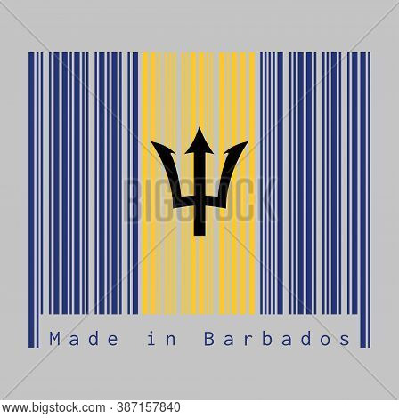 Barcode Set The Color Of Barbados Flag, Vertical Ultramarine And Gold Color With Black Trident-head