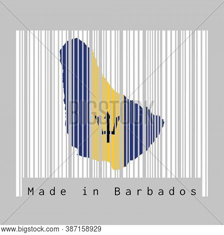Barcode Set The Shape To Barbados Map Outline And The Color Of Barbados Flag On White Barcode With G