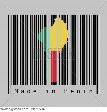 Barcode Set The Shape To Benin Map Outline And The Color Of Benin Flag On Black Barcode With Grey Ba