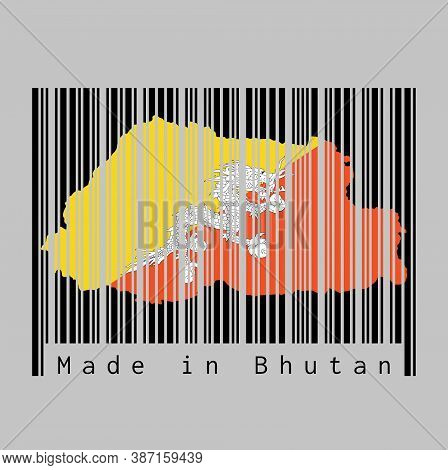 Barcode Set The Shape To Bhutan Map Outline And The Color Of Bhutan Flag On Black Barcode With Grey