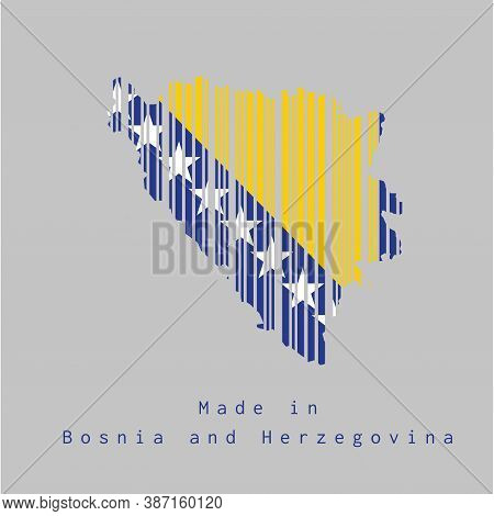 Barcode Set The Shape To Bosnia Map Outline And The Color Of Bosnia Flag On Grey Background, Text: M