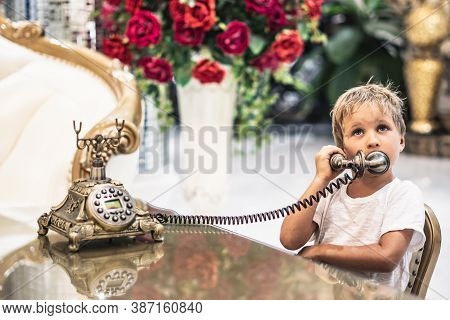Boy Take Telephone Receiver, Play With Antique Vintage Rotary Old Landline Hang Up Phone Beautifully