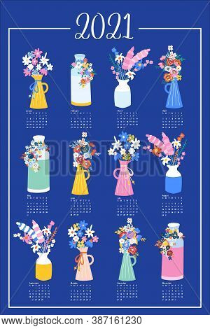 One Page Floral Calendar Design 2021. Hand Drawn Vector Template Design With Flower Vases On Blue Ba