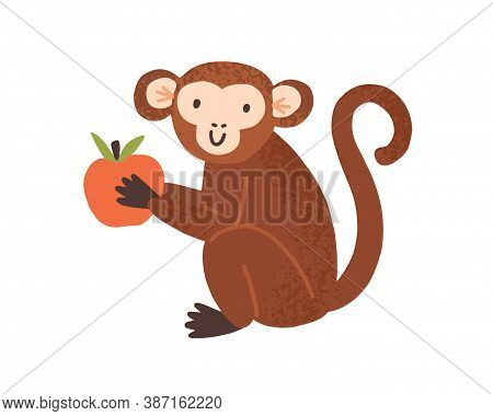 Cute Childish Monkey Sit And Hold Apple In Little Paws. Chimpanzee Mascot In Scandinavian Style. Fla