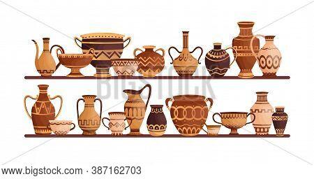 Different Ancient Greek Ceramic Dishware On Shelves Vector Flat Illustration. Clay Pots, Vases, Amph