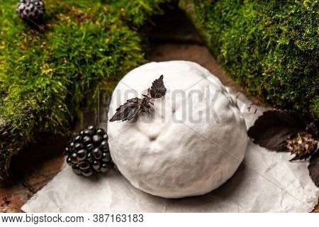 Camembert Or Brie French Soft Cheese With Blackberry, Basil. Fresh Brie Cheese With White Mold. Bann