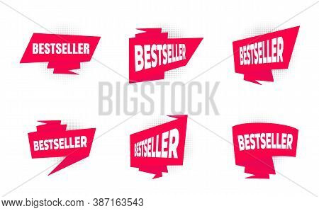 Bestseller Big Red Retro Ribbon Set Flat Style Design Vector Illustration Isolated On White Backgrou