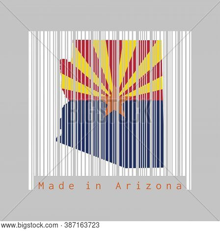 Barcode Set The Shape To Arizona Map Outline And The Color Of Arizona Flag On White Barcode With Gre