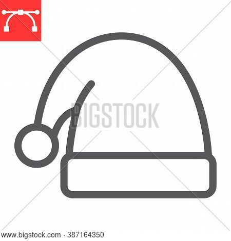 Santa Hat Line Icon, Merry Christmas And Xmas, Noel Hat Sign Vector Graphics, Editable Stroke Linear