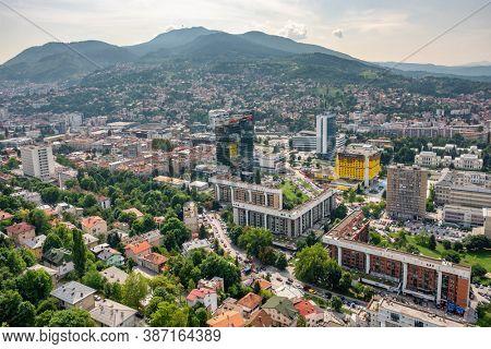 Sarajevo, BiH - August 29, 2019: Cityscape of Sarajevo city at summer, Bosnia and Herzegovina