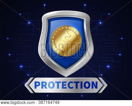 Banking Money Protection. Golden Coin In Realistic Shield, Save Your Money. Safety Of Financial Inve