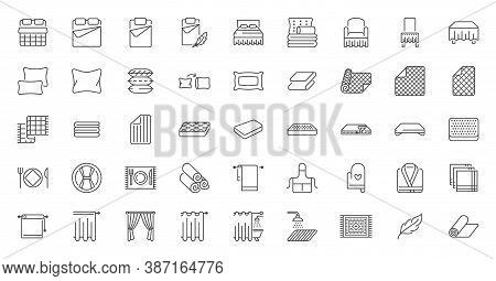 Bedroom Linen Flat Line Icons Set. Double Bed, Cushion, Blanket, Sheets, Pillow, Mattress Topper, Cu