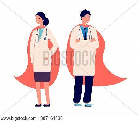 Doctor Superhero. Medical Team, Doctors Wear Red Super Hero Cape. Hospital Worker, Nurse Emergency S