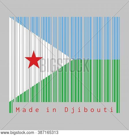 Barcode Set The Color Of Djibouti Flag, A Horizontal Light Blue And Light Green With A White Triangl