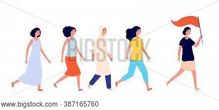 Women Empowerment. Strong Woman, Young Female Friends Support. Feminism Or Girl Power Teamwork, Grou