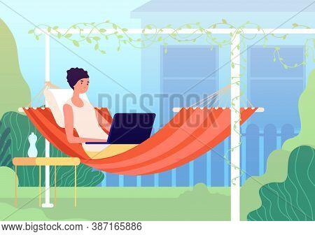 Rest In Hammock. Summer Balcony, Gardening Relax On Backyard. Modern Woman Relaxing In Garden With L