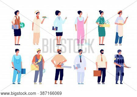 Professionals Characters. Different Employees, Group Of Workers. Isolated People Wear Uniform, Socia