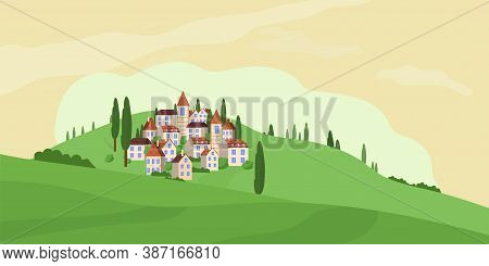 Panoramic Vector Illustration Of Rural Countryside With European Houses On Hills Stock Vector Illust