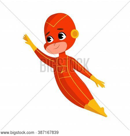 Cute Boy In Red Superhero Comics Costume, Adorable Kid Superhero Character Flying With His Hand Outs