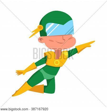Cute Boy Girl In Green Superhero Costume, Adorable Kid Character Flying In Superhero Pose Cartoon St