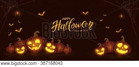 Banner With Halloween Pumpkins, Spiders And Bats On Black Night Background. Holiday Card With Jack O