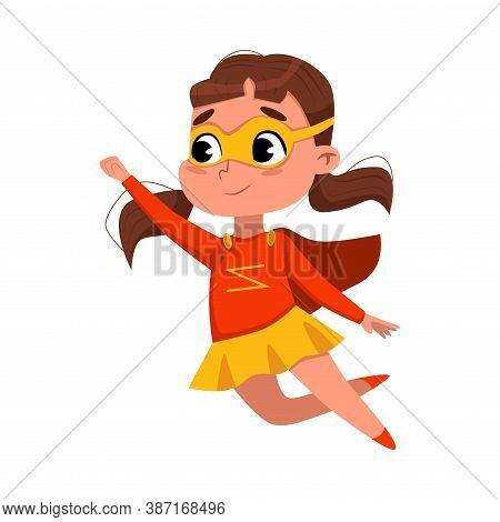Cute Girl Playing Superhero Wearing Colorful Costume And Mask, Adorable Kid In Superhero Pose Cartoo