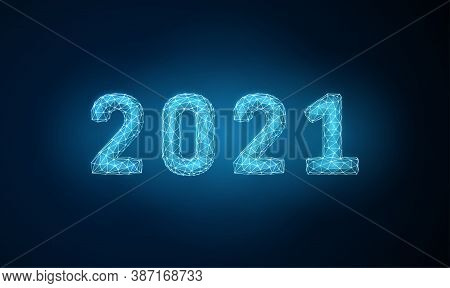 Abstract Low Poly Happy 2021 New Year Greeting Card