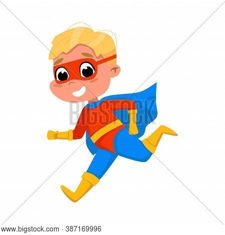 Cute Boy Running Wearing Superhero Costume And Cape, Adorable Smiling Kid Superhero Character Cartoo