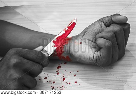 Committed Suicide Concept - Man Suicide By Knife Cutting A Wrist, Depressed Man, Sad Love, Low Self