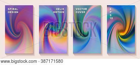 Fluid Gradient Spiral Scroll Cover Page Templates Vector Set. Modern Brochure Front Pages Collection