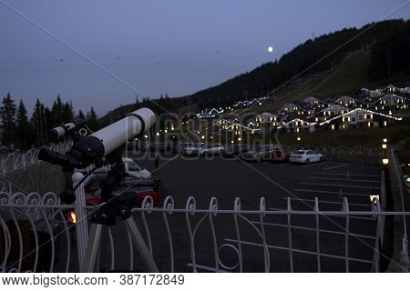 Telescope For Observing The Universe - Astronomy And Astrology Staying Outdoor In Mountains Ski Reso