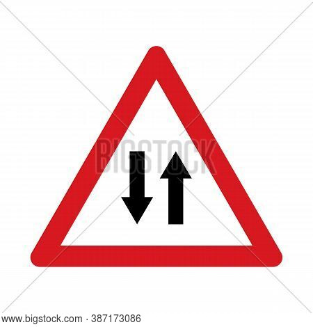 Traffic Sign Warning For A Road With Two-way Traffic. Traffic Sign Isolated On White Background. Vec