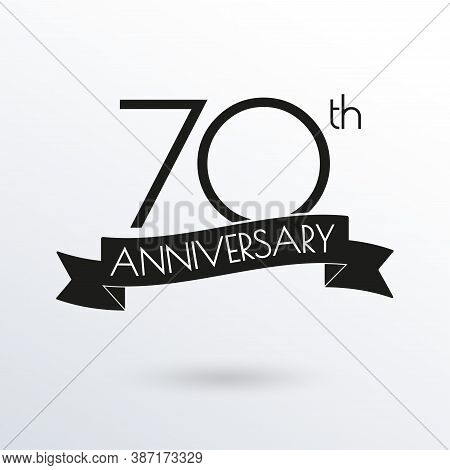 70 Years Anniversary Logo With Ribbon. 70th Anniversary Celebration Label. Design Element For Birthd