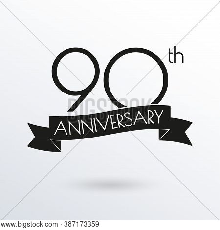 90 Years Anniversary Logo With Ribbon. 90th Anniversary Celebration Label. Design Element For Birthd