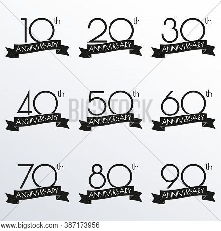 Anniversary Logo Set. 10,20,30,40,50,60,70,80,90 Anniversary Celebration Label With Ribbon. Design E